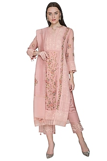 Blush Pink Embroidered & Hand Painted Kurta Set by Poonam Dubey Designs