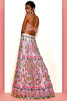 Lilac & Pink Embroidered Lehenga Set by Papa Don'T Preach By Shubhika