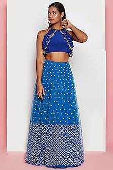 Ivy Blue Embroidered Lehenga With Blouse by Papa Don't Preach by Shubhika