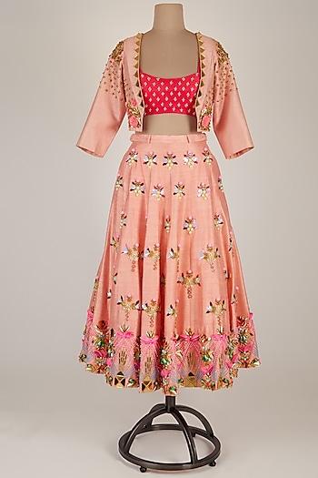 Blush Pink Embellished Jacket Lehenga Set by Papa Don't Preach by Shubhika