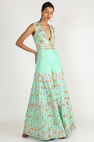 Mint Green Embellished Jumpsuit With Belt by Papa Don'T Preach By Shubhika
