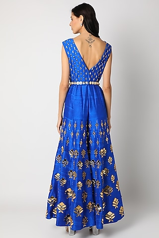 Electric Blue Embellished Jumpsuit by Papa Don'T Preach By Shubhika