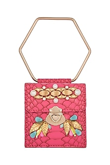 Pink Embroidered Mini Bag by Papa Don't Preach by Shubhika