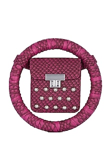 Purple Embroidered Circular Minaudiere Bag by Papa Don't Preach by Shubhika