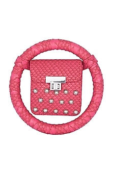 Pink Embroidered Circular Minaudiere Bag by Papa Don't Preach by Shubhika