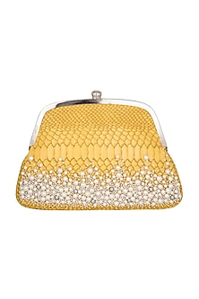Mustard Yellow Embroidered Hand Clutch by Papa Don't Preach by Shubhika