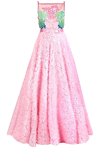 Pink Embellished Textured Gown by Papa Don't Preach by Shubhika