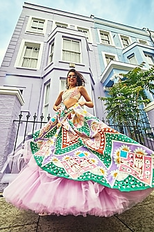 Multi Colored Hand Painted Ruffled Blouse WIth Lehenga Skirt by Papa Don't Preach by Shubhika