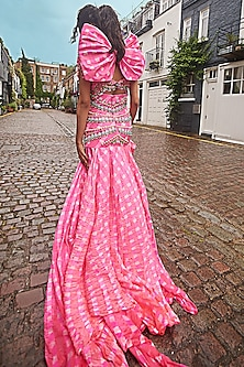Bubble Gum Pink Embellished Leheriya Draped Lehenga Set by Papa Don't Preach by Shubhika