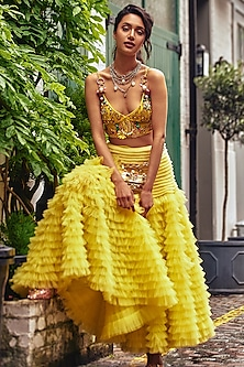 Lime Yellow Ruffled Lehenga Skirt With Embellished Bralet by Papa Don't Preach by Shubhika