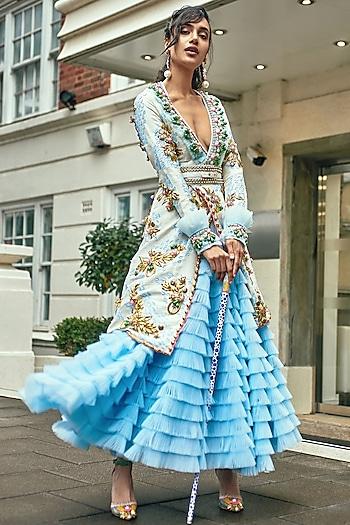 Powder Blue Ruffled Lehenga Skirt With Embellished Jacket by Papa Don't Preach by Shubhika