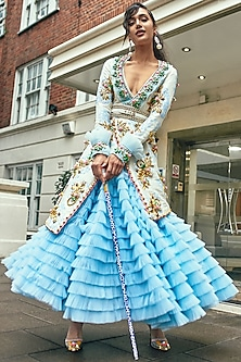 Powder Blue Ruffled Lehenga Skirt With Embellished Jacket by Papa Don't Preach by Shubhika