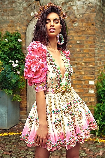 Ivory To Pink Embellished Dress With Leheriya Shrug by Papa Don't Preach by Shubhika