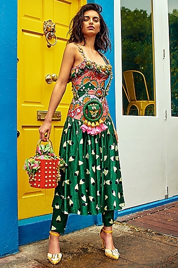 Bottle Green Printed Dress With Cigarette Pants by Papa Don't Preach by Shubhika