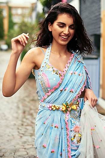 Powder Blue Embellished Pre-Stitched Saree Set by Papa Don't Preach by Shubhika