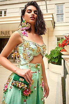 Mint Green Embellished Dhoti Jumpsuit With Cut-Outs by Papa Don't Preach by Shubhika
