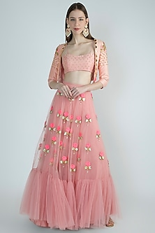 Rose Beige Embroidered Lehenga Set by Papa Don't Preach by Shubhika
