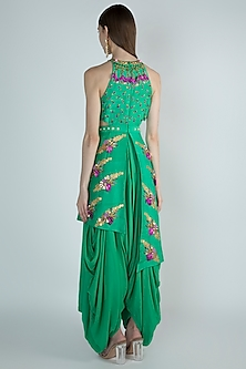 Bottle Green Embroidered Dhoti Jumpsuit by Papa Don't Preach by Shubhika