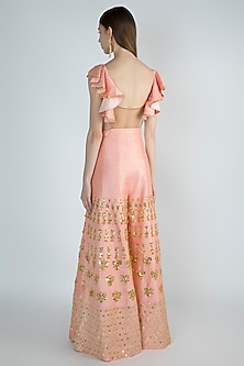 Peach Embroidered Ruffled Jumpsuit by Papa Don't Preach by Shubhika