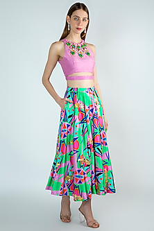 Multi Colored Embroidered Lehenga Skirt With Crop Top by Papa Don't Preach by Shubhika