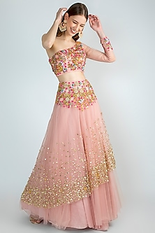 Blush Pink Embroidered Lehenga Skirt With Blouse by Papa Don't Preach by Shubhika
