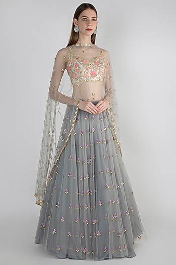 Grey & Ivory Embroidered Lehenga Set by Papa Don't Preach by Shubhika