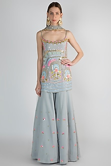Grey Embroidered Sharara Set by Papa Don't Preach by Shubhika