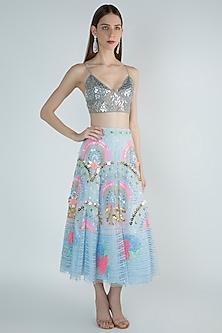 Powder Blue Embroidered Lehenga Skirt With Bralette by Papa Don't Preach by Shubhika