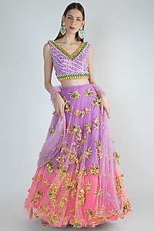 Lilac To Pink Embroidered & Dip-Dyed Lehenga Set by Papa Don't Preach by Shubhika