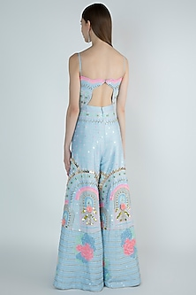 Powder Blue Embroidered Jumpsuit by Papa Don't Preach by Shubhika