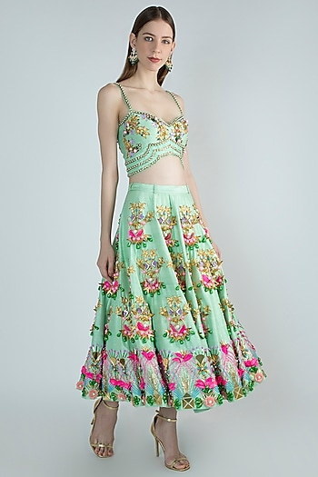Mint Green Embroidered Half Lehenga Skirt With Blouse by Papa Don't Preach by Shubhika