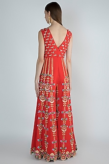 Tomato Red Embroidered Jumpsuit by Papa Don't Preach by Shubhika