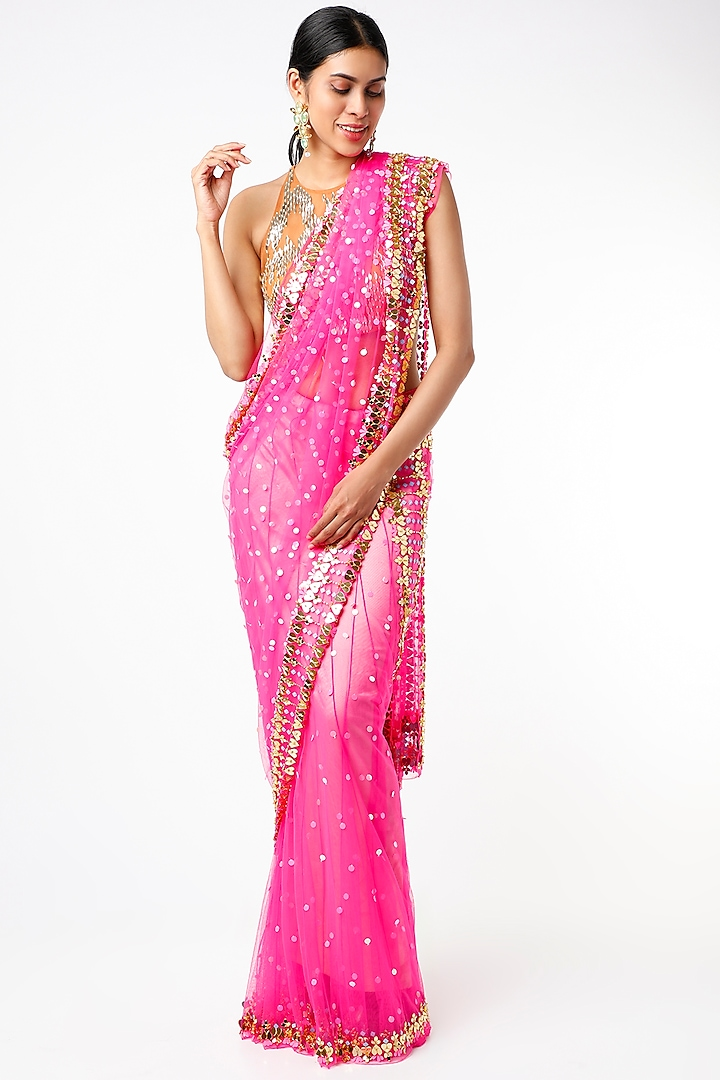 Hot Pink Embroidered Pre-Stitched Saree Set by Papa Don't Preach by Shubhika