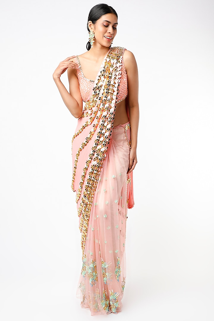 Peach Embroidered Pre-Stitched Saree Set by Papa Don't Preach by Shubhika