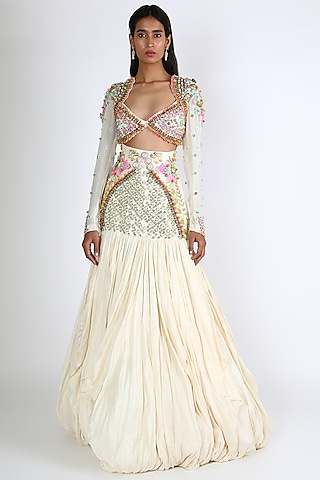 Ivory Embroidered Draped Lehenga Set by Papa Don'T Preach By Shubhika