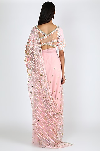 Blush Pink Embroidered Pre-Stitched Saree Set by Papa Don'T Preach By Shubhika