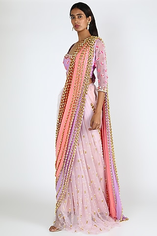 Multi Colored Embroidered Crepe Pre-Stitched Saree Set by Papa Don'T Preach By Shubhika