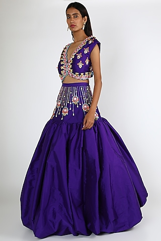 Violet Embroidered Lehenga Set by Papa Don'T Preach By Shubhika