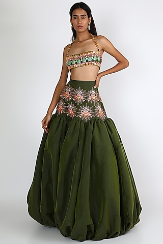 Olive Green Embroidered Lehenga Set by Papa Don'T Preach By Shubhika
