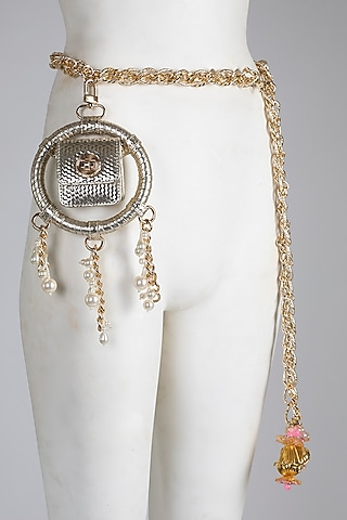 Gold Embellished Belt Bag by Papa Don'T Preach By Shubhika