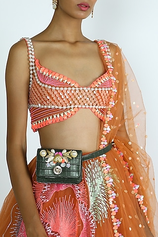 Green Embellished Belt Bag by Papa Don'T Preach By Shubhika