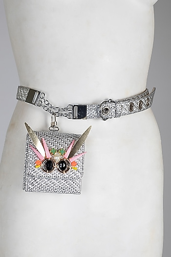 Silver Embellished Faux Leather Belt Bag by Papa Don'T Preach By Shubhika