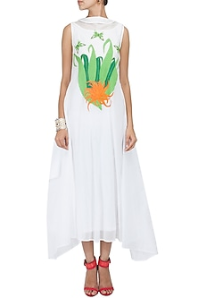 White bird and flower embroidered floor length draped dress by Purvi Doshi