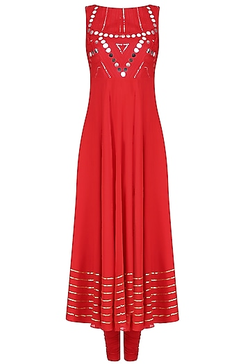Red Mirror Work Embellished Sleeveless Anarkali Set by Preeti Reddy