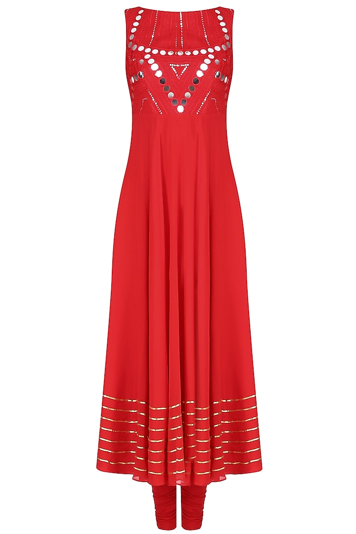 Red Mirror Work Embellished Sleeveless Anarkali Set by Preeti Reddy