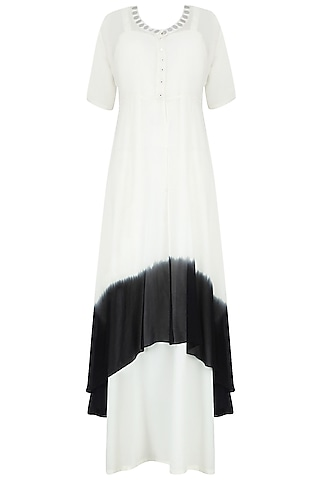 Off White And Black Monochrome Kurta With Inner And Scarf by Preeti Reddy