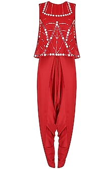 Red Mirror Work Embellished Top With Draped Dhoti Pants by Preeti Reddy