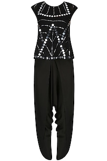 Black Mirror Work Embellished Top With Draped Dhoti Pants by Preeti Reddy