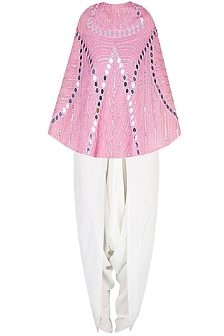 Onion Pink Mirror Work Cape With Off White Dhoti Pants by Preeti Reddy