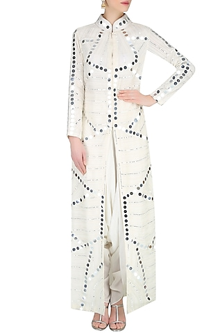 Off White Mirror Work Front Open Jacket With Dhoti Pants by Preeti Reddy